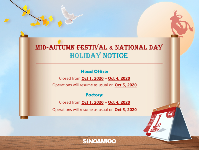 Mid-Autumn Festival and National Day Holiday Notice