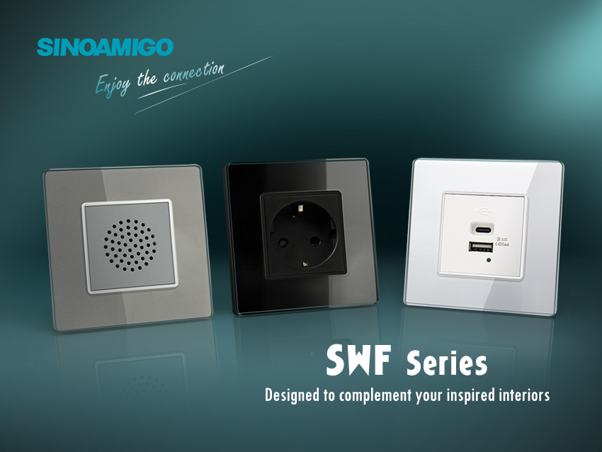 Power up your décor with our latest range of wall sockets series with tempered glass panel